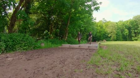 engel : Fit man training over tyres obstacle course at boot camp 4k Stok Video