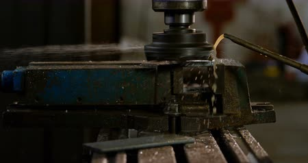 absence : Close-up of drill press machine in workshop 4k