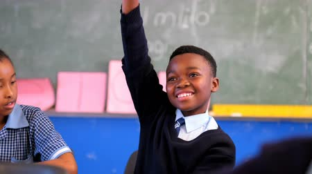 notatnik : Schoolkid hand raised in the classroom at school 4k Wideo