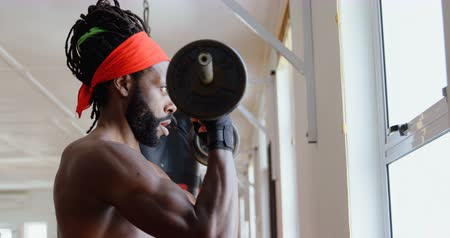 banquinho : Focused male boxer exercising with dumbbell in fitness studio 4k Vídeos