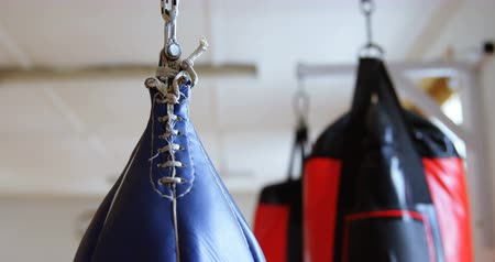 absence : Close-up of punching bag in fitness studio 4k Stock Footage
