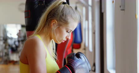 cabeça e ombros : Female boxer practicing boxing in fitness studio 4k