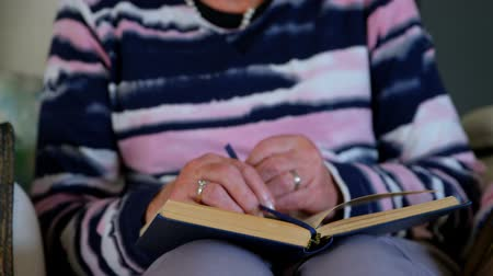 active ageing : Close up of a senior retired woman wearing glasses reading a book in living room at home while sitting on an armchair. Stock Footage