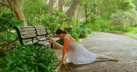 balanceamento : Female ballerina doing stretching exercise in the park. Green trees in the background 4k