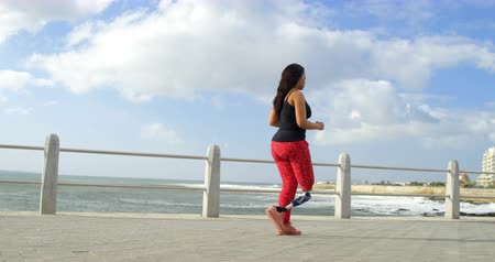 korkuluk : Side view of disabled woman walking on promenade. Calm sea in the background 4k Stok Video