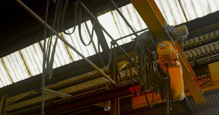 absence : Overhead crane in foundry workshop. Overhead crane moving 4k