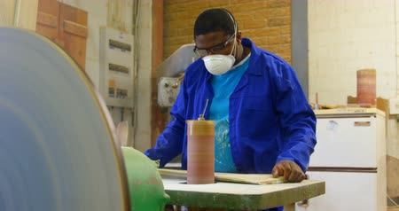 metal casting : Worker making mold in foundry workshop. Worker using machinery 4k Stock Footage