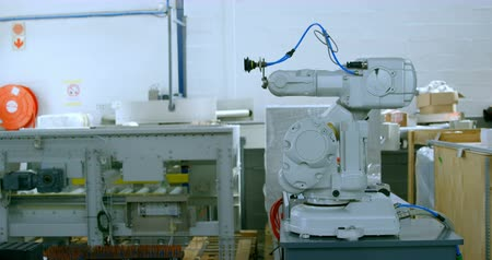 absence : Modern robotic machine in warehouse. Robotic machine on the table 4k