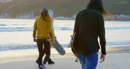 cultura juvenil : Rear view of young caucasian friends walking together at the beach during sunset. They are holding skateboard 4k Stock Footage