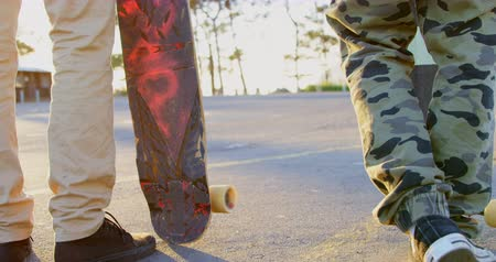 kruvazör : Low section of young skateboarders standing with skateboard on country road. Skateboarders holding skateboard in the sunshine 4k Stok Video