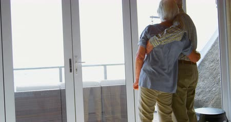 active ageing : Rear view of Caucasian senior couple looking through windowat comfortable home. Romantic Caucasian senior couple embracing each other 4k