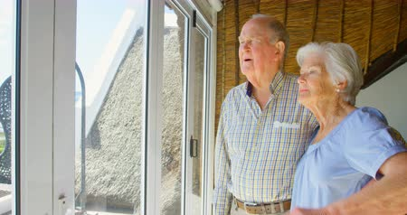 active ageing : Side view of Caucasian senior couple looking through window at comfortable home. They are standing near window 4k Stock Footage