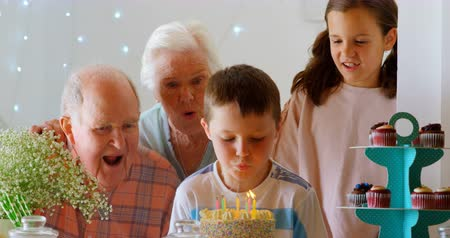 ev gibi : Front view of Caucasian multi-generation family celebrating birthday of their grandson in a comfortable home. Boy blowing out candles on birthday cake 4k Stok Video