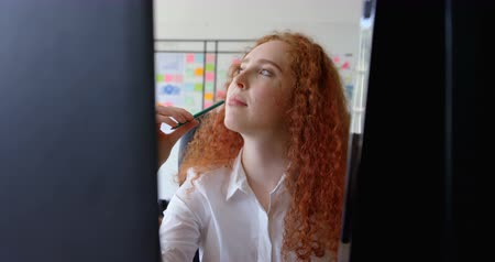 ona : Front view of thoughtful young caucasian businesswoman touching her lip with a pencil at desk. She is looking up 4k