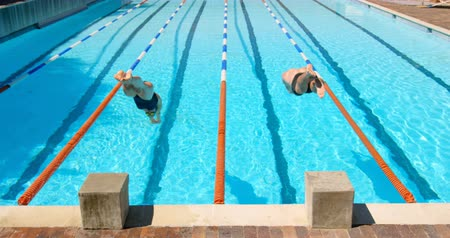 jumped : Male and female swimmer preparing to dive in pool. Both jumped in the pool for swimming 4k