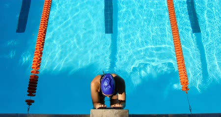 nadador : High angle view of female swimmer swimming inside pool. Female swimmer swimming backstroke 4k Stock Footage