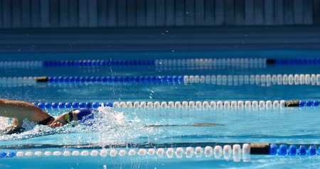stile libero : Female swimmer swimming inside pool. Female swimming practicing freestyle 4k