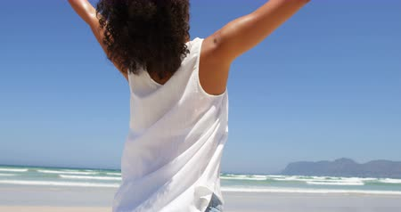 uzanmış : Woman standing with arms outstretched at beach. Rear view of woman 4k