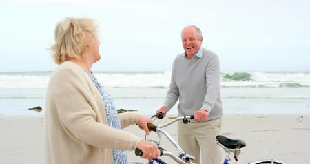 aktivní : Side view of old caucasian senior couple standing with bicycle at beach. They are smiling and looking at each other 4k Dostupné videozáznamy