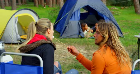 poblíž : Young man feeding woman with marshmallow near campfire. Friends camping together in the forest 4k