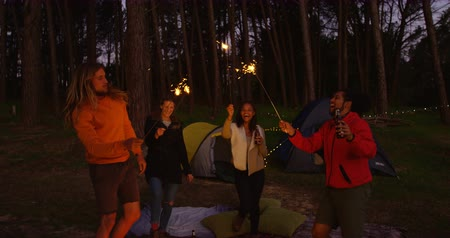 sparklers : Friends having fun with sparklers in the forest. Friends camping together in the forest 4k