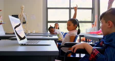 raised : Side view of diverse group of schoolkids raising hand while sitting at desk in elementary school. Teacher teaching schoolkids in classroom 4k Stock Footage