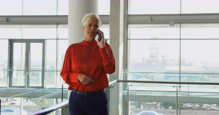 három negyed hosszúság : Side view of senior Caucasian businesswoman talking on mobile phone in office. She is standing in balcony 4k Stock mozgókép