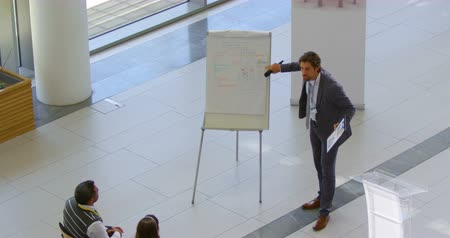 inclusive : High angle view of a Caucasian male speaker standing near a clipboard and speaking to the public in the business seminar 4k