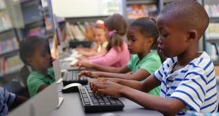 eu : Side view of mixed-race schoolkids studying on computer in the classroom. They are sitting i the classroom 4k Vídeos