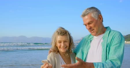 ракушки : Front view of senior Caucasian couple holding a seashell on the beach. They are interacting with each other  4k Стоковые видеозаписи