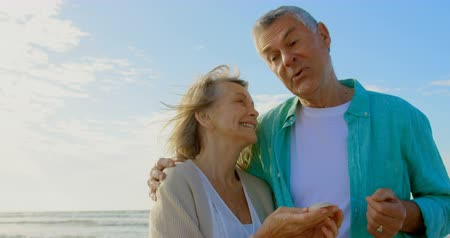 пенсионер : Front view of active senior Caucasian couple holding seashell on the beach. They are interacting with each other  4k