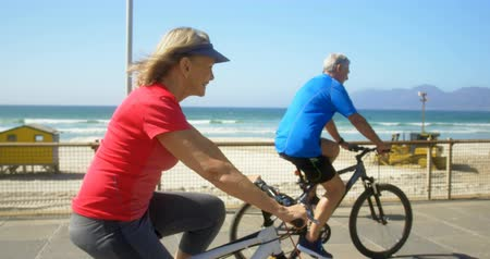 гражданин : Side view of active senior Caucasian couple riding bicycle on a promenade at the beach. They are having fun 4k