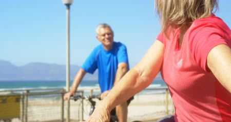 гражданин : Front view of active senior Caucasian couple interacting with each other on a promenade at beach. They are standing with their bicycle 4k
