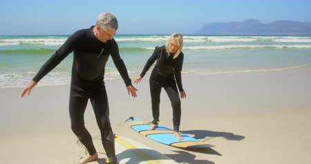 actieve senioren : Front view of active senior Caucasian couple practicing to surf on the beach. They are standing on the surfboard kj 4k