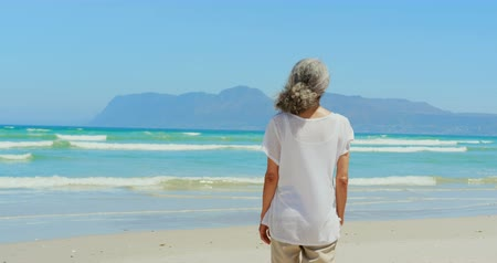 пенсионер : Rear view of active senior African American woman walking on beach in the sunshine. She is looking at sea 4k