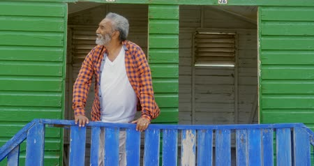 chata : Front view of happy active senior African American man standing at beach hut on a sunny day. He is looking away 4k
