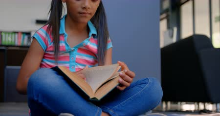 ártatlanság : Front view of attentive African American schoolgirl reading a book in library at school. She is sitting on the floor 4k Stock mozgókép