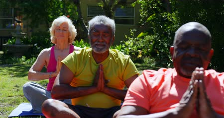 пенсионер : Front view of active mixed-race senior people performing yoga in the garden of nursing home. They are meditating together 4k