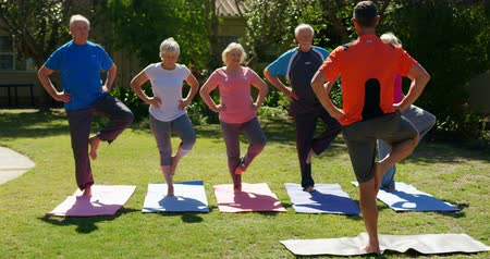 vyvažování : Rear view of Caucasian male trainer training senior people in performing yoga at the garden of nursing home. They are exercising together 4k