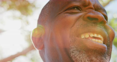 hareketli : Close-up of active African American senior man performing yoga in the garden of nursing home. He is smiling 4k