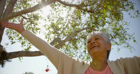 balanceamento : Low angle view of active African American senior woman performing yoga in the garden of nursing home. She is smiling 4k