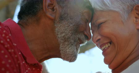 szállás : Close-up of active African American senior couple standing face to face in the garden of nursing home. They are smiling 4k Stock mozgókép