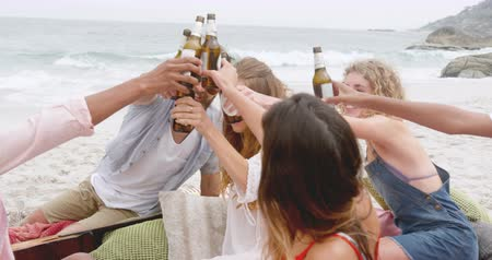 socialization : Group of mixed-race friends toasting beer glasses on the beach. They are having fun 4k