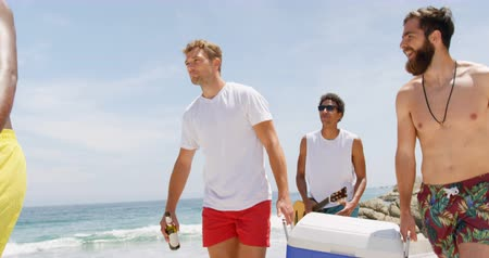 socialization : Mixed race male friends carrying ice box on the beach. They are walking together 4k