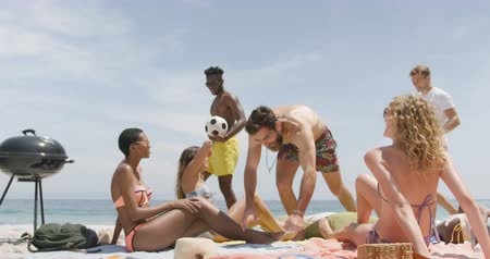 socialization : Group of mixed-race friends relaxing on the beach. They are interacting with each other 4k