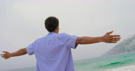 растягивается : Rear view of African American man standing with arms outstretched on the beach 4k Стоковые видеозаписи