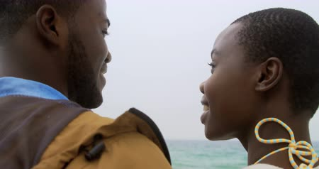 derű : Rear view of African american couple standing together o the beach. They are spending time together 4k