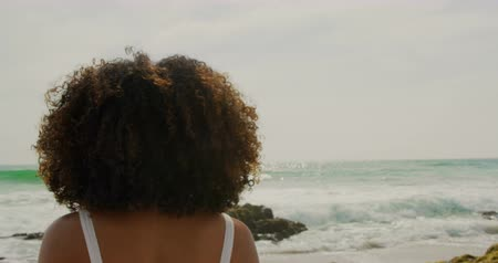 определение : Rear view of African american woman standing on the beach. She is looking at sea 4k Стоковые видеозаписи