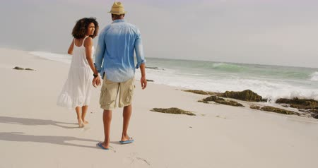 ультра : Rear view of African american couple walking on the beach. They are interacting with each other 4k
