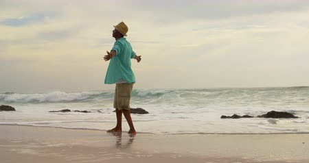 растягивается : Rear view of African American man standing with arms outstretched on the beach. He is spinning around himself 4k Стоковые видеозаписи